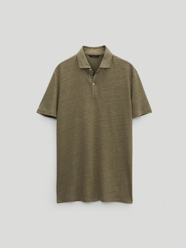 100% linen short sleeve Polo shirt