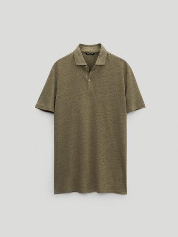 חולצת פולו שרוול קצר 100% פשתן