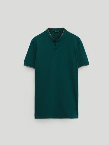 Polo à col mao et manches courtes en coton