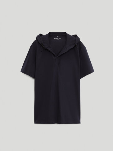 Short sleeve cotton polo shirt with hood
