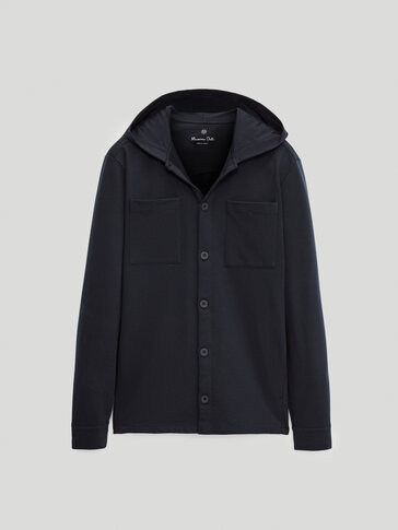 Cotton overshirt with hood