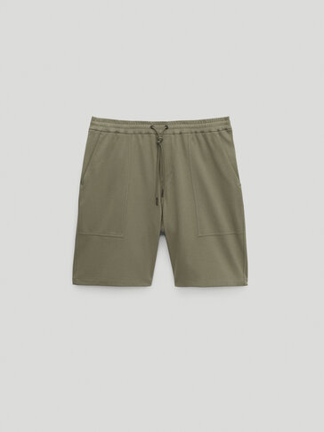 Cotton Bermuda shorts with elastic waistband