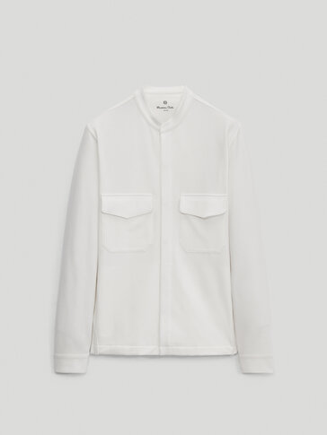 Cotton overshirt with stand-up collar