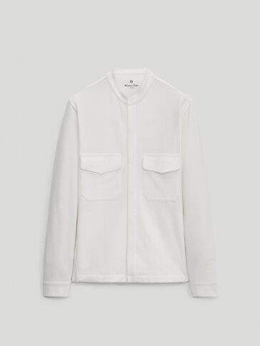 Хлопковая куртка-рубашка с воротником-стойкой