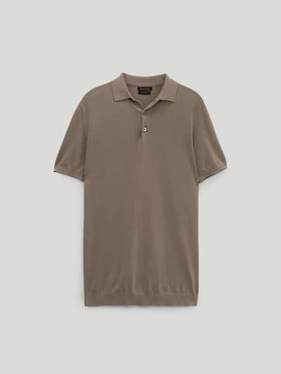 마시모두띠 Massimo Dutti Short sleeve cotton polo sweater,Sand