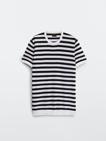 Nautical stripe cotton knit T-shirt