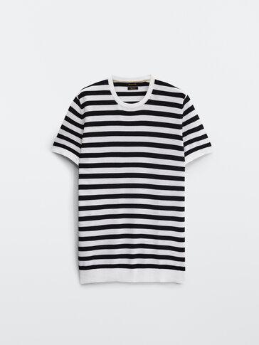 Nautical stripe cotton knit T-shirt