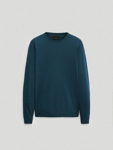Бавовняно-шовковий светр із круглим коміром