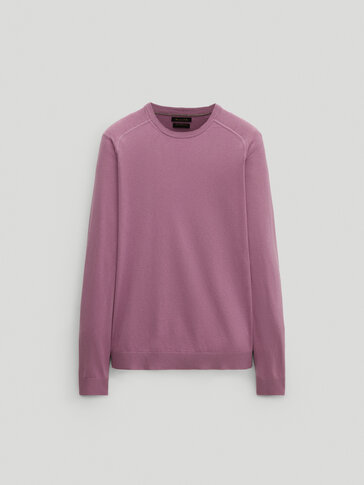 Crew neck cotton and silk sweater