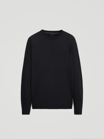 Kokvilnas un zīda džemperis ar apaļu kakla izgriezumu