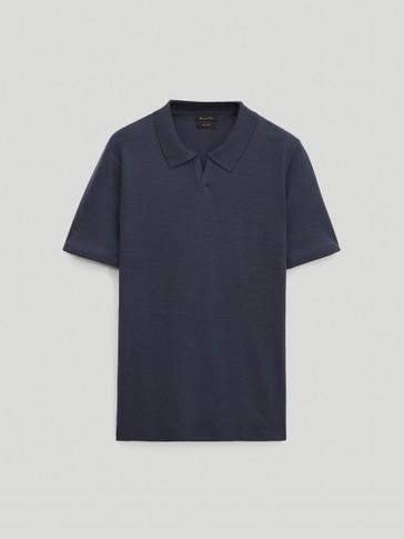 Merino-wool short-sleeve polo sweater