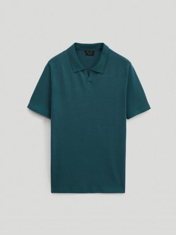 Polo sveter z merino vlny s krátkym rukávom