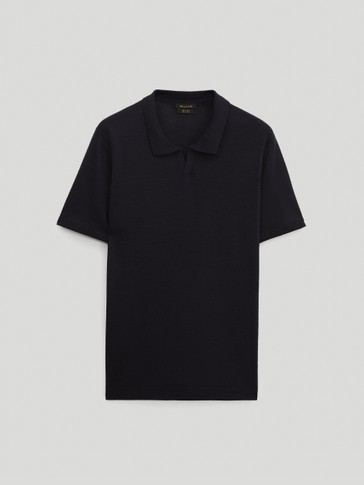 Merino-wool short-sleeve polo sweater