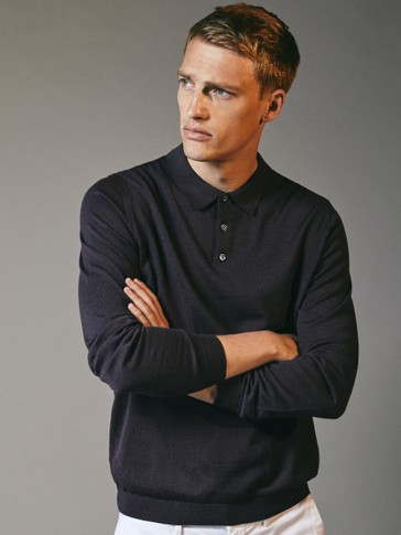 Polo sweater in 100% merino wool