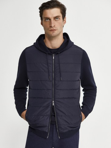 Contrast cardigan with hood