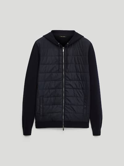 마시모두띠 Massimo Dutti Contrast cardigan with hood,NAVY BLUE