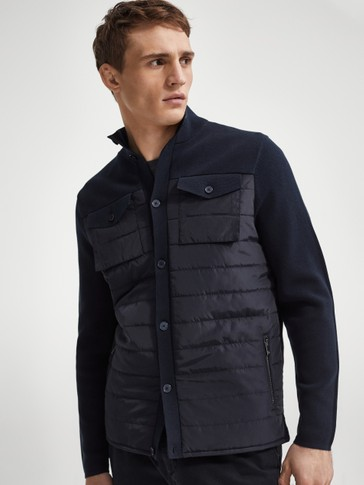 Contrast fabric cargo cardigan
