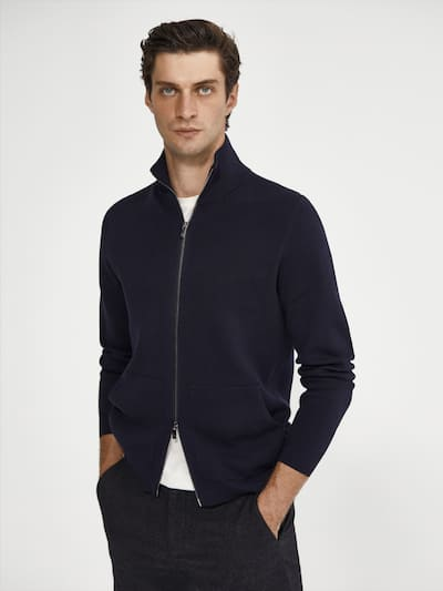 마시모두띠 Massimo Dutti Zipped cotton cardigan,NAVY BLUE