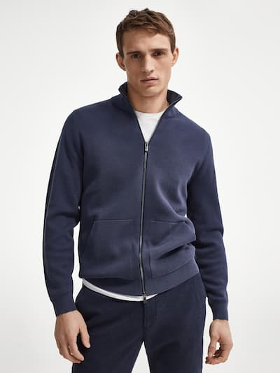 마시모두띠 Massimo Dutti Zipped cotton cardigan,Dark Blue
