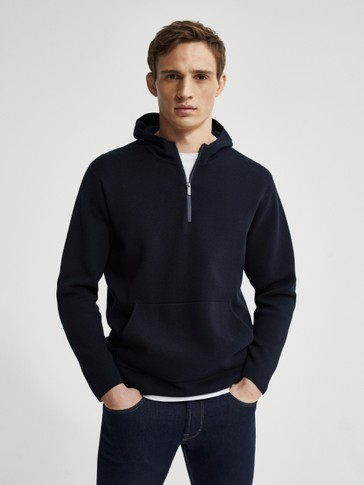 Strikket sweatshirt i 100 % cotton