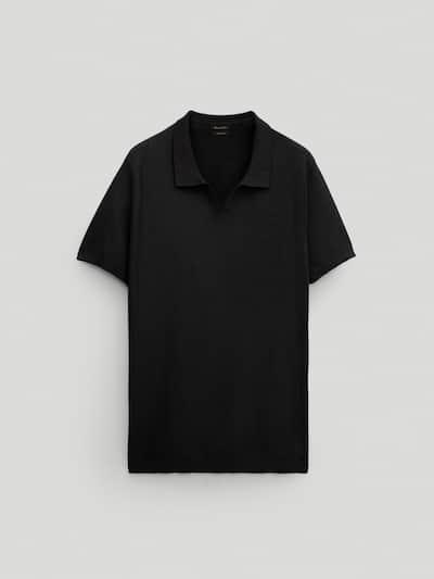 마시모두띠 Massimo Dutti 100% cotton short sleeve polo sweater,BLACK