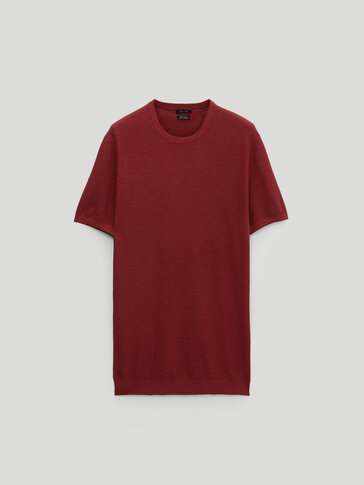 Cotton linen knit T-shirt