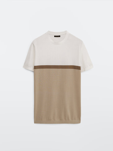 Cotton colour block knit T-shirt