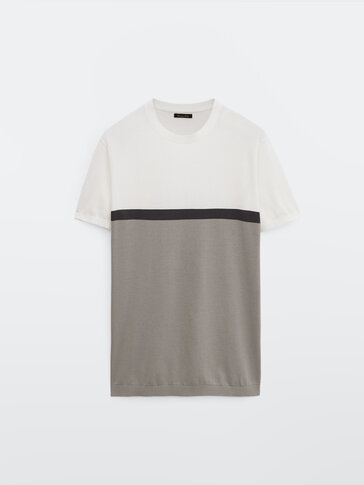 T-shirt color block en maille de coton