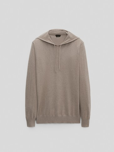 Cotton, silk and cashmere hooded sweater
