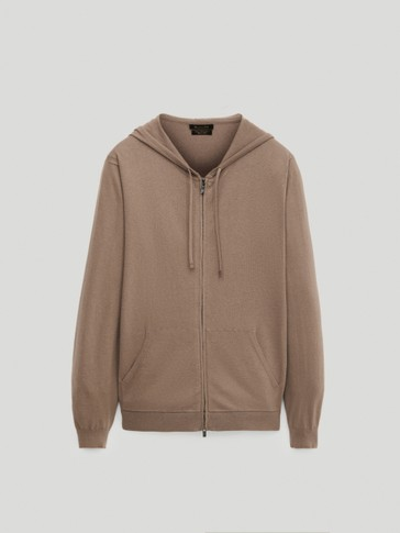 Cotton, silk and cashmere hooded cardigan
