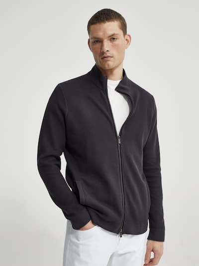 마시모두띠 Massimo Dutti Zipped cotton cardigan,DEEP BLUE