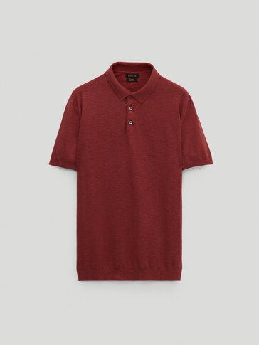 חולצת פולו צבועה עשויה כותנה/פשתן