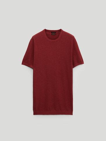 Cotton linen knit T-shirt