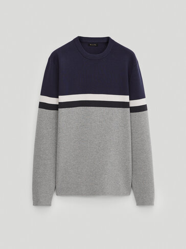 100% cotton colour block sweater