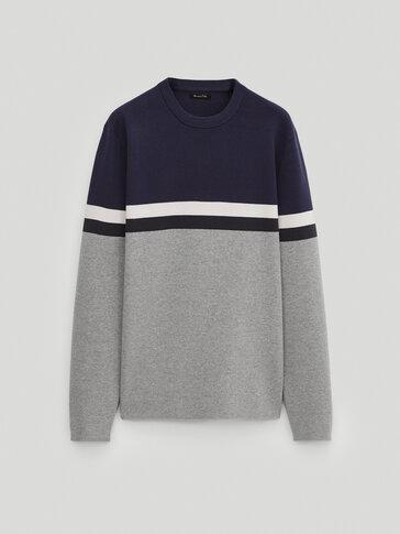 100% cotton colour block sweater
