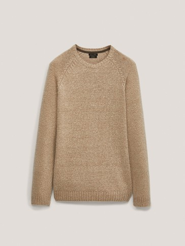 Crew neck cotton and wool sweater