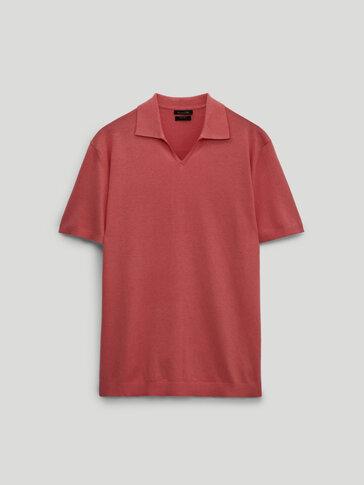 Pull style polo en coton et en lin