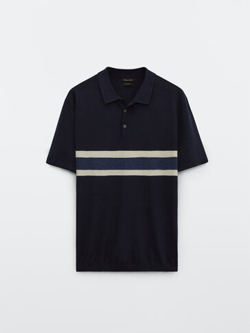 Cotton and linen striped polo sweater