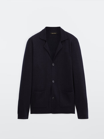 Cardigan blazer in 100% merino wool