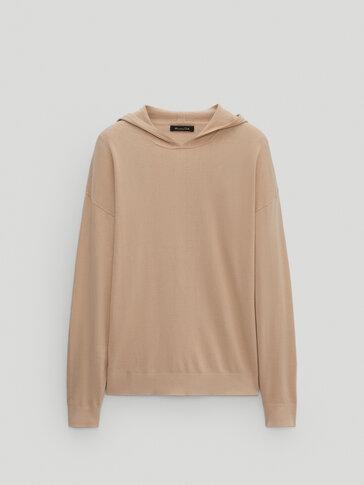 Pletený sveter s kapucňou zo 100% bavlny