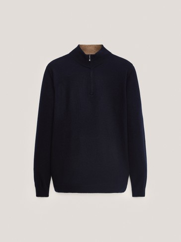 Cashmere wool mock neck sweater