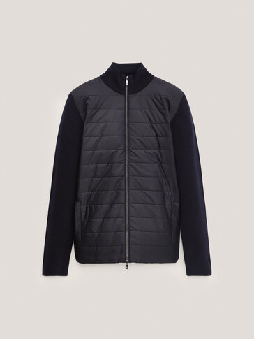 Adīta jaka no kontrastaina auduma