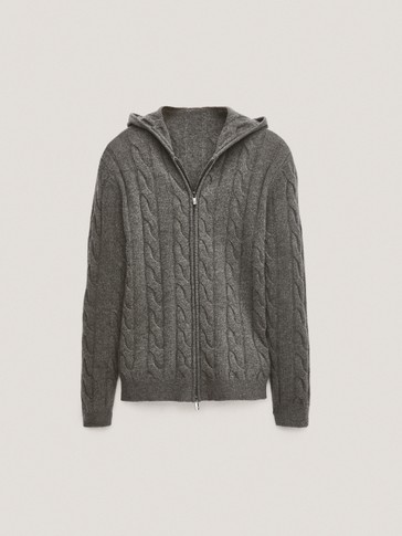 Wool/cashmere cardigan with hood
