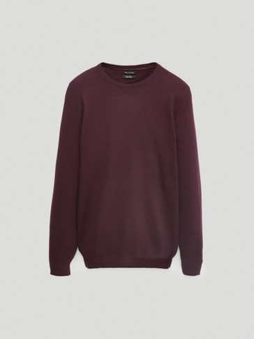 Crew neck cotton and cashmere sweater