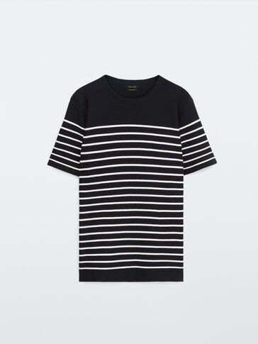 Striped cotton knit T-shirt