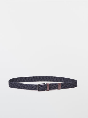 Blue stretch belt with leather details