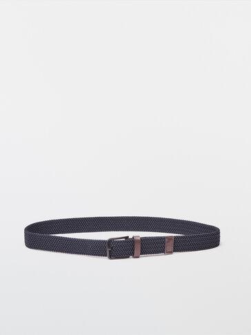 Modrý elastický opasok s koženým prvkom