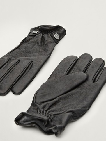 Embossed leather, wool and cashmere gloves