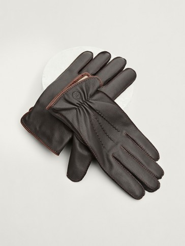 Leather, wool and cashmere gloves with topstitching