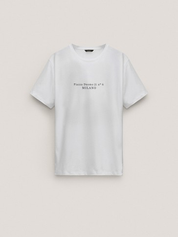 Short sleeve cotton T-shirt with slogan